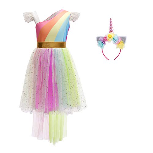 (Halloween Cosplay Big Girls Summer Fluffy Sleeve Rainbow Tutu Dress Unicorn Princess Fairytale Pageant Carnival Costume with Horn Headband 8-9)