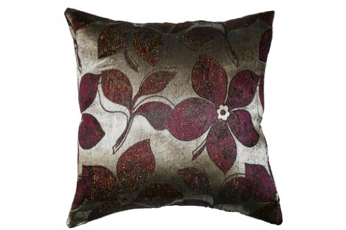 Signature Jacquard Lily Design - dark red accent pillow