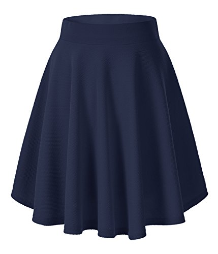 asic Versatile Stretchy Flared Casual Mini Skater Skirt (Medium, Navy-Long) ()