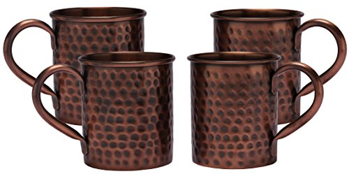 Melange Set of 4 Antique Finish 16 Oz Copper Classic Mug for Moscow Mules - 100% Pure Hammered Copper - Heavy Gauge - No Lining - Includes Free Recipe Card ()