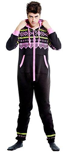 SkylineWears Mens Onesie Jumpsuit one Piece non Footed Pajamas Black-PinkDesign L (Onesie For Male Adults)