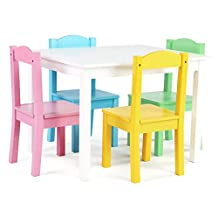 Tot Tutors Kids' Table and 4 Chair Set, White/Pastel