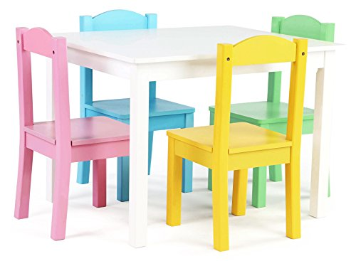 Tot Tutors Kids Wood Table and 4 Chairs Set, White/Pastel (Pastel Collection) - 4 Chair Set Pastel