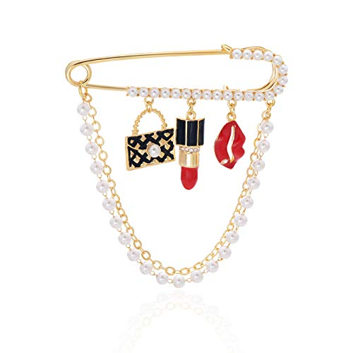 (OBONNIE Gold Tone Crystal Pearl Chain Safety Pin Brooch Cardigan Hat Scarf Pin Brooch with Red Lip Charm)