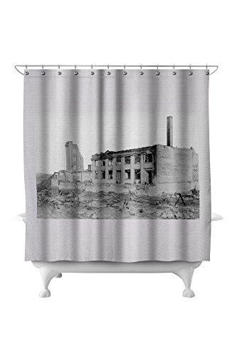Astoria  Oregon Fire View Of Astoria Natl  Bank Photograph  71X74 Polyester Shower Curtain