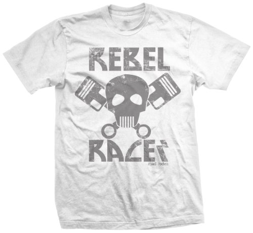 T-Shirt Rock'n'Roll, Rockabilly, US Car, Hot Rod Wear, Kustom, Rebel Racer (Weiss)