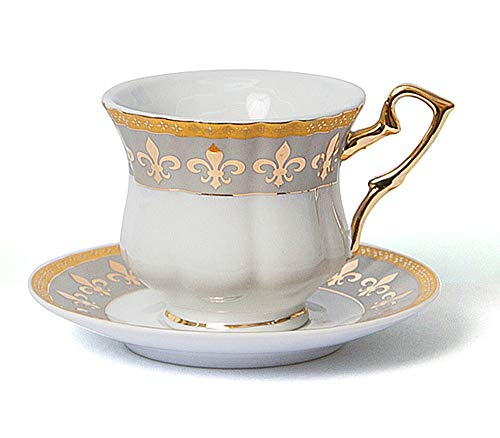 - Euro Porcelain 12-Pc. Fleur-de-Lis Tea Cup Coffee Set, Premium Bone China, 24K Gold-Plated, Complete Service for 6, Original Czech Tableware