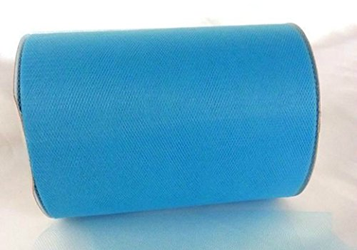 6 Inch x 100 Yards (300ft) Turquoise Blue Tulle Roll Spool - Wedding & Party Decoration