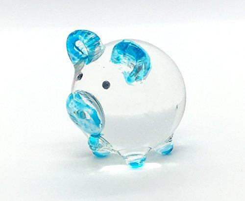 Blown Pig Glass (Hand Blown Art Glass,Pig Miniature Animals Collection, Dollhouse Miniatures,by Audomna Shop.)