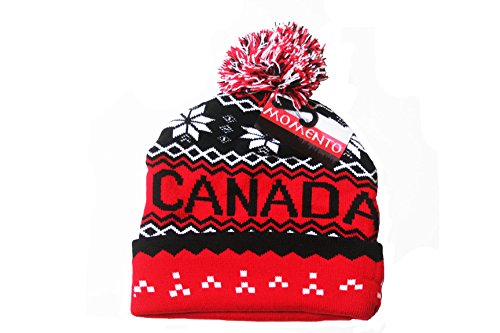 CANADA Red Black With White Snowflakes Toque Hat With Pom Pom .. Momento..New (Canada Artic)