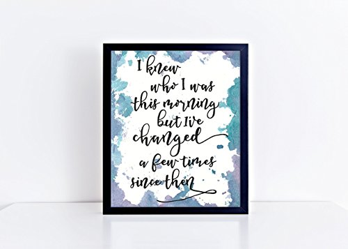 Alice In Wonderland quote - purple and blue hand lettered 8x