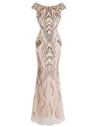 Angel-fashions Women's Bateau Cap Sleeve Floral Sequin Sheath V Back Evening Dress