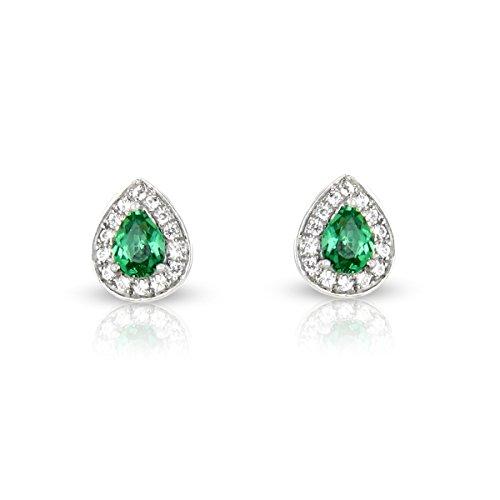 Tousmesbijoux Boucles d'oreilles poire en Or blanc 750/00 diamants et émeraudes