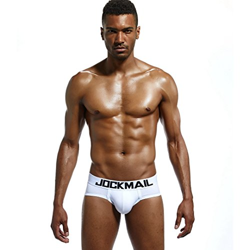 Jockmail OCKMAIL Brand Classic Basics Cotton Men Underwear Briefs Gay Underwear Penis Pouch Low Waist Slip Homme Panties Sexy Men Trunks (XL)