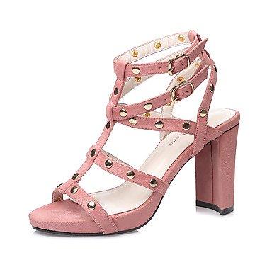 Sandali Primavera Estate gladiatore Dress scamosciata tacco grosso delle donne YCMDM perline fibbia , pink , us6.5-7 / eu37 / uk4.5-5 / cn37