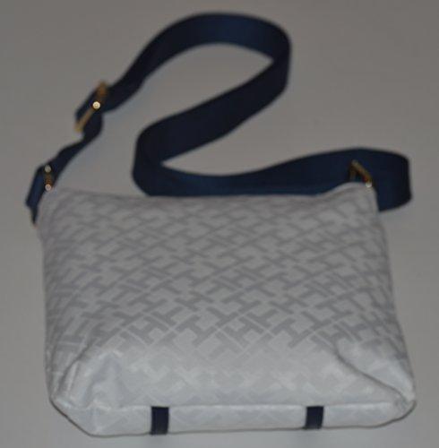 Tommy Hilfiger Women's White Blue Monogram Crossbody Leather Canvas