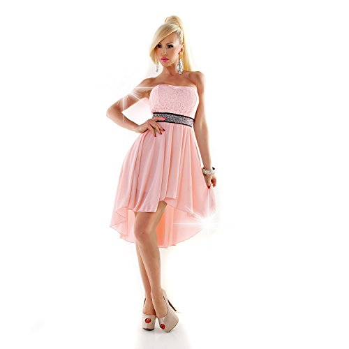 Vokuhila Kleid Spitze Strass Abendkleid Abiballkleid vorne kurz hinten lang Cocktailkleid rosa 34-38