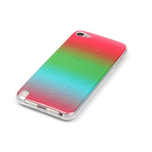 JuSha para Apple iPod Touch 5 / Touch 6 Carcasa Cover Ultrafino TPU Silicona Suave Funda Carcasa Tapa Caso Parachoques Cubierta ( Rojo Verde Rojo Gradiente )