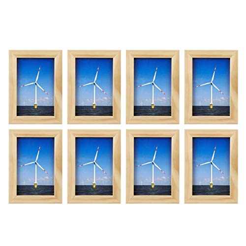 ONE WALL Tempered Glass 4x6 Picture Frame Solid Wooden Frame Without Mat Set of 8 - Natural Wood Color Frames for Wall Mounting or Tabletop - Mounting Hardware Included