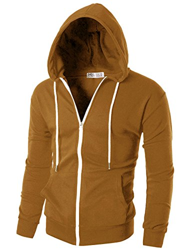 OHOO Mens Slim Fit Long Sleeve Lightweight Zip-up Hoodie with Kanga Pocket/DCF002-CAMEL-2XL ()