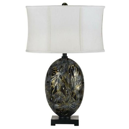 Cal Lighting BO-2167TB Table Lamp with White Fabric Shades, Dark Golden Bronze Finish, 17