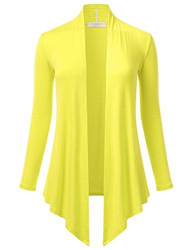 (FLORIA Women's Open Front Drape Hem Lightweight Long Sleeve Knit Cardigan Yellow M)