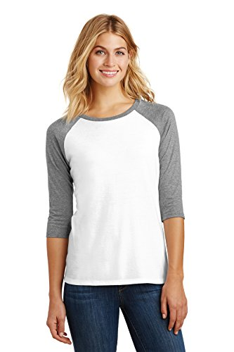 Raglan Lady Womens - District Made Women's Perfect Tri 3/4-Sleeve Raglan DM136L Grey Frost/White Large