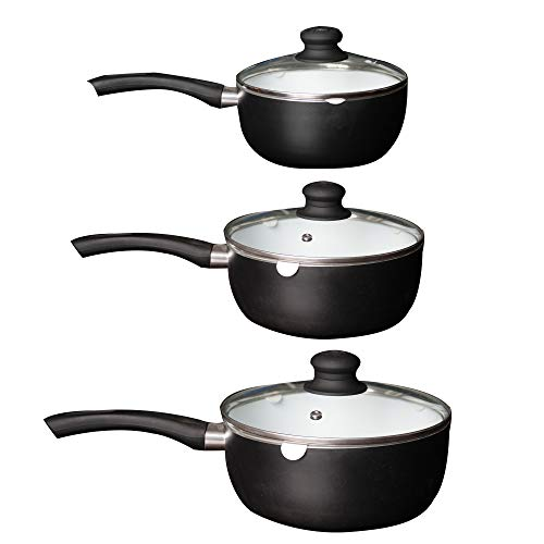iZAN Ceramic Coated Nonstick Saucepan Set Premium Kitchenware Cookware Ceramic Coating Covered Aluminum Sauce Pans Pots with Tempered Glass Lids PTFE PFOA and Cadmium Free, 3 Piece -