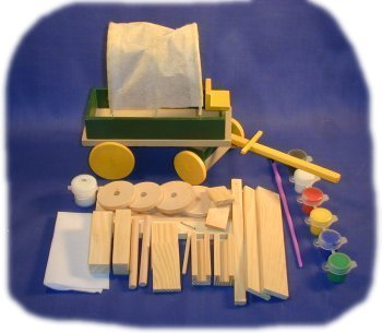 Brandine Wood Kits (Covered Wagon Wood Craft Kit with Paint and Brush)