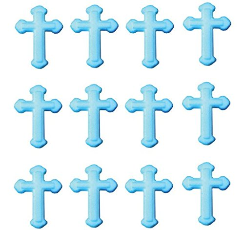 Baptism Christening BLUE Cross Edible Sugar Cupcake Decoration Toppers ()