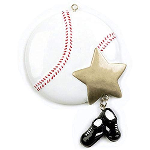 Ornaments by Elves Personalized Baseball Christmas Ornament for Tree 2018 - Sports Ball with Gold Star and Sneakers Dangling Team Athlete MLB - Coach Hobby Active Profession - Free Customization (Mini Baseball Christmas Ornament)
