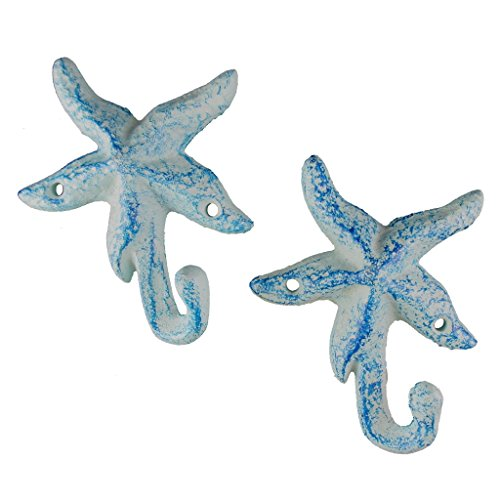 Tropical Fish Hook (Iron Starfish Hook, Set of 2, Light Blue)