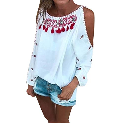 (Women Summer Bobo Top Ladies Bohemian Print Off Shoulder Long Sleeve T-Shirt Summer Casual Beach Loose Blouse Tops White)