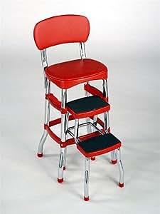 Amazon Com Cosco Red Retro Counter Chair Step Stool