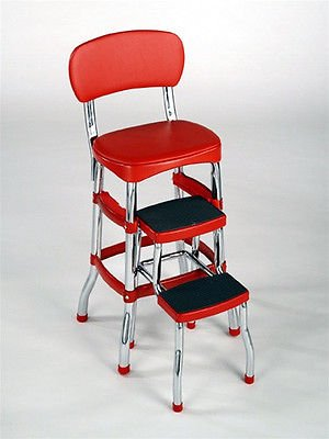 Cosco Red Retro Counter Chair Step Stool Folding Kitchen Bar Home or Office