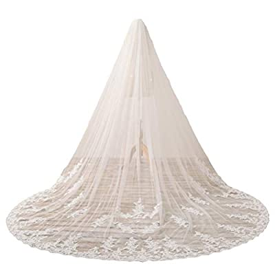 Fenghuavip Cathedral Veil 1 Tier Long Wedding Veil Lace Bridal Veil with Comb