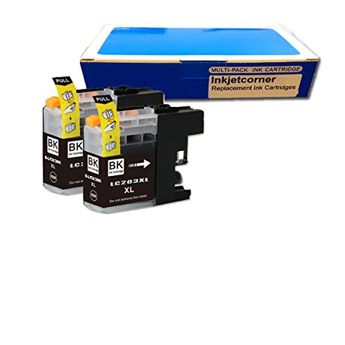 Inkjetcorner 2 BLACK Compatible Ink Cartridges + Chip for Brother LC203 BK LC203XL MFC-J460DW, MFC-J480DW, MFC-J485DW, MFC-J680DW, MFC-J880DW, MFC-J885DW