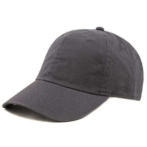 THE HAT DEPOT 300N Washed Low Profile Cotton and Denim Baseball Cap (Hat Charcoal)
