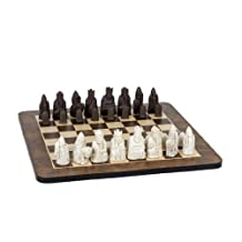 WE Games Isle of Lewis Antiquity Chess Set - Polystone Pieces & Walnut Root Board 19 in. by Wood Expressions