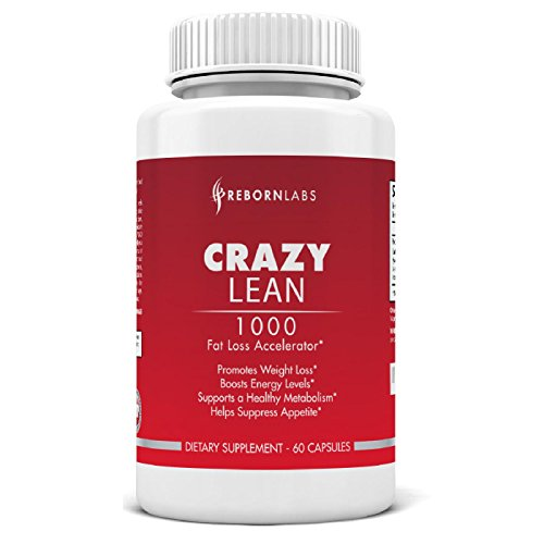 C.R.A.Z.Y. Lean | Plus puissant coupe-faim et brûleur de graisse | Approvisionnement de 30 jours | Attaques de graisse tenace, bloque l'appétit | Avec la caféine, la synéphrine, Yohimbe, Picamilon et autres | Ingrédients synergiques | Énergie et exhausteu