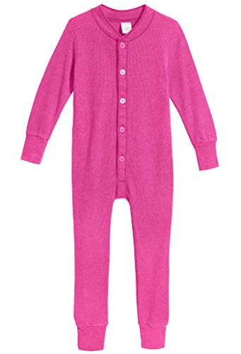 City Threads Little Boys and Girls' Union Suit Thermal Underwear Set Long John Onesie Footie Perfect for Sensitive Skin and Sensory Friendly SPD, Hot Pink, 4