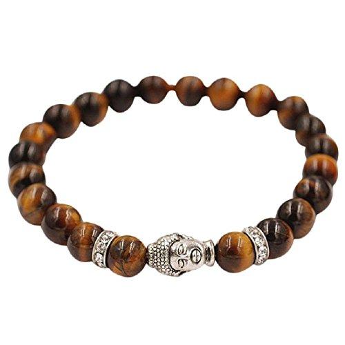 Bracelets - SODIAL(R) Lucky Bracelets Silver Buddha Elastic Beaded Bracelet Tibet Charm Brown