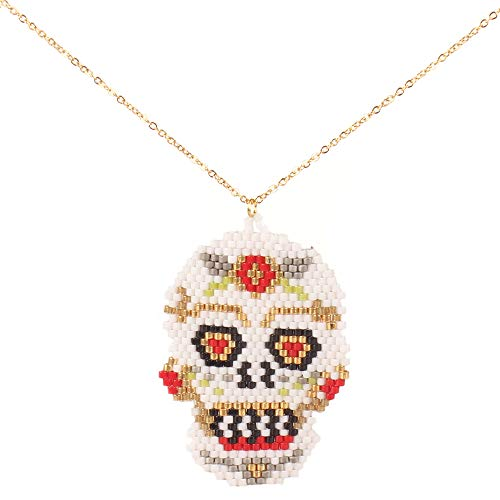 (BALIBALI Handmade 100% Authentic Miyuki Seed Beads Necklace Woven Flower Sugar Skull Mexican Day of The Dead Pendant Necklace Jewelry for Women )