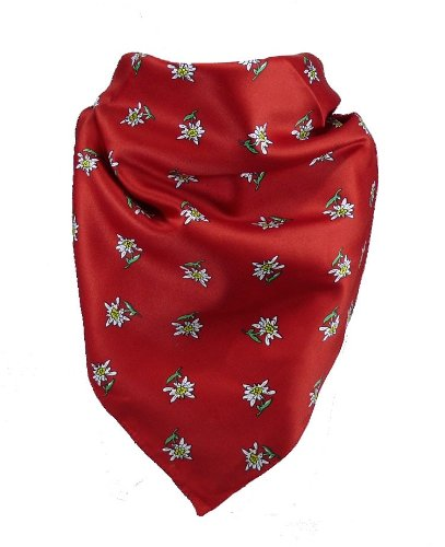 Feines Tuch mit Edelweiss in vielen Farben 60 X 60 cm, Farben:rot