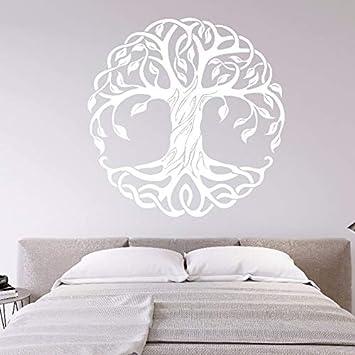 wZUN Mandala Pegatina de Pared de árbol Redondo calcomanía de Vinilo decoración del hogar Yoga árbol decoración de Pared árbol de la Vida Mural de Pared 42X42cm