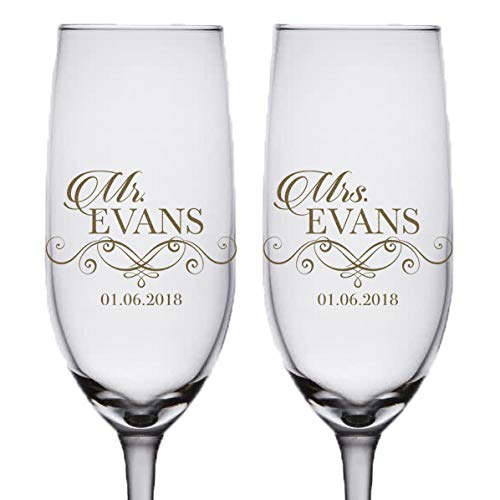 Pair of Bronze Etched Personalized Mr and Mrs Champagne Flutes