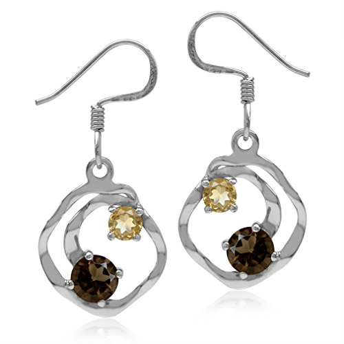Natural Smoky Quartz & Citrine White Gold Plated 925 Sterling Silver Textured Spiral Dangle -