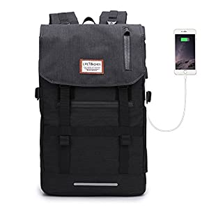 Laptop Outdoor Backpack, Winblo Travel Hiking & Camping Rucksack Pack with USB Charging Port, Casual Large College School Daypack, Shoulder Book Bags Back for 17-Inch Laptops, Black