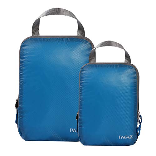 BAGAIL 2 Set Ultralight Compression Packing Cubes Expandable Travel Packing Organizers Blue(M+S)