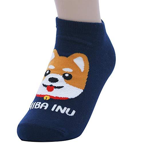 Sockstheway Women's Dog Friends Casual Cute Cotton Ankle Socks - Shiba Inu, Blue, 1 Pair ()